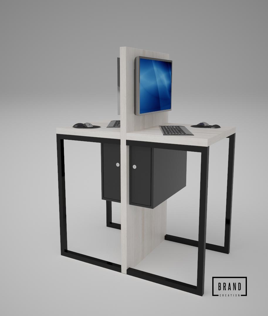 Dwustanowiskowy stolik komputerowy do sklepu