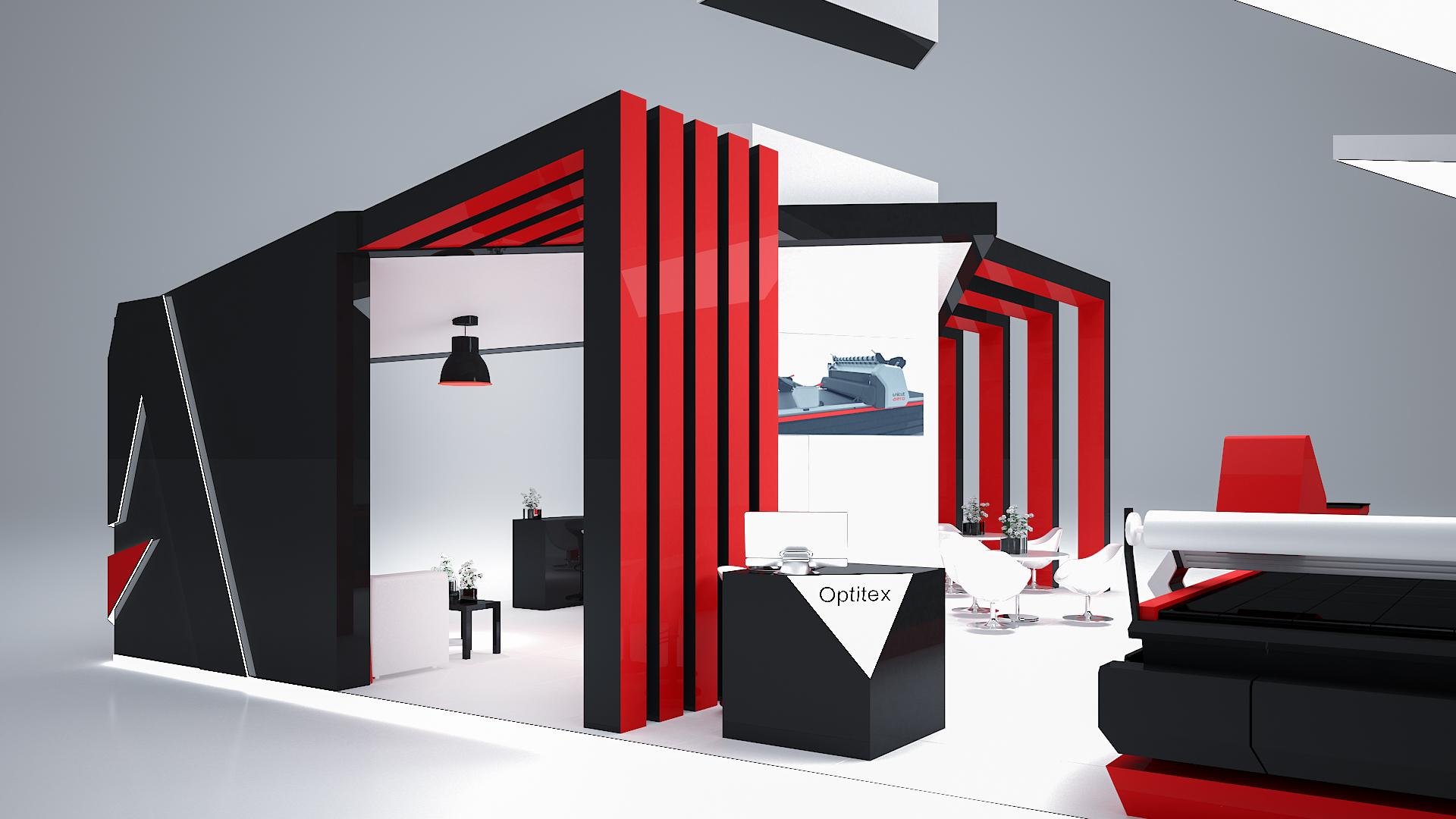 Czerwono-czarne stoisko handlowe